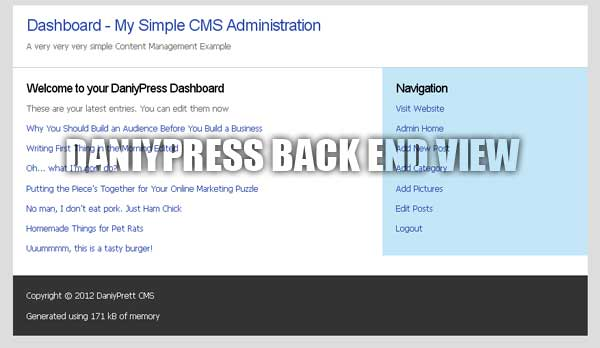 DaniyPress Backend Admin View